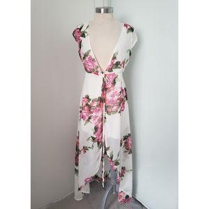 White Floral Chiffon Dress